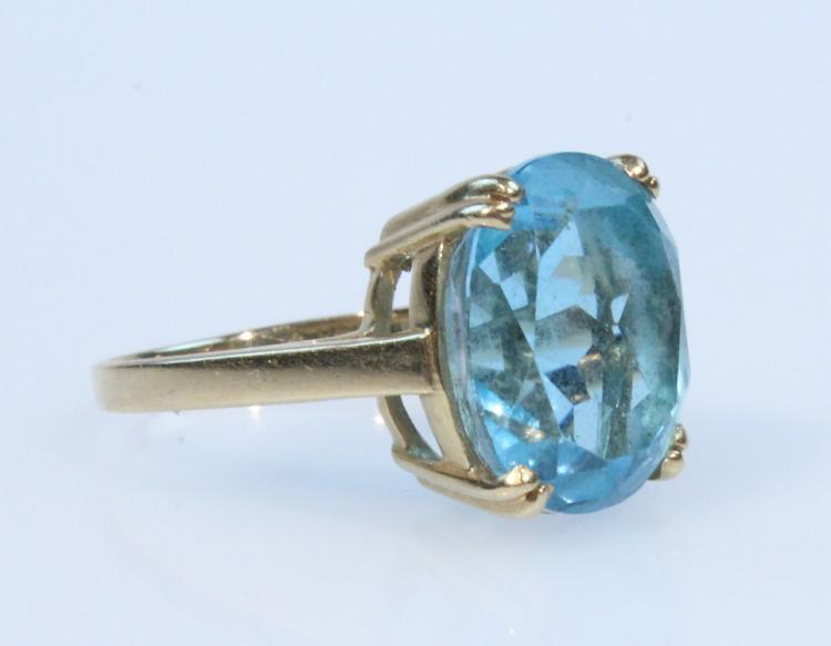 Precious Gemstones 14K YELLOW GOLD 10CT BLUE TOPAZ RING Basket Setting Vintage Jewelry Cocktail Formal Evening Attire