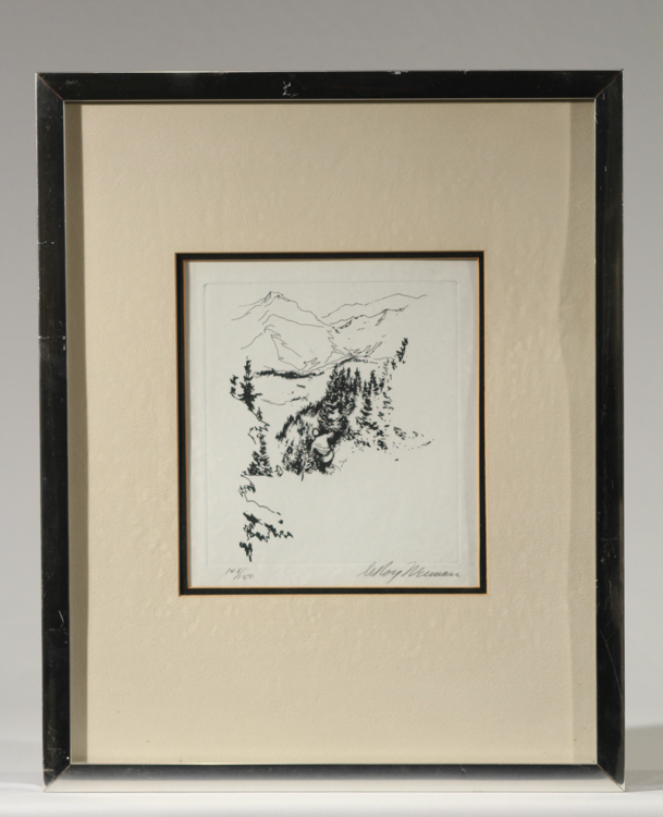 Pine Trail LEROY NEIMAN 1972 Original Pencil Signed Ltd Ed Etching Downhill Skiing Aspen Winter Olympic Sports Vintage Print Art Framed