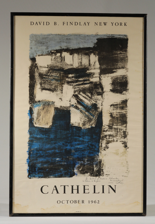 Mourlot Studios BERNARD CATHELIN LITHOGRAPH EXHIBITION POSTER 1962 Signed David B Findlay New York City Framed Art Modern 20th-Century French Artist