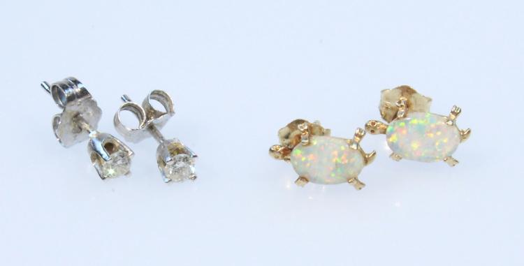 4Pcs Diamond Opal VINTAGE 14K GOLD EARRINGS Navette Cut White Yellow Turtles Jewelry Studs Precious Gemstones