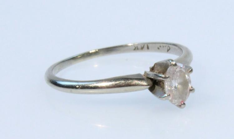 Precious Gemstone 14 KARAT WHITE GOLD OVAL DIAMOND RING Vintage Jewelry Quarter Engagement