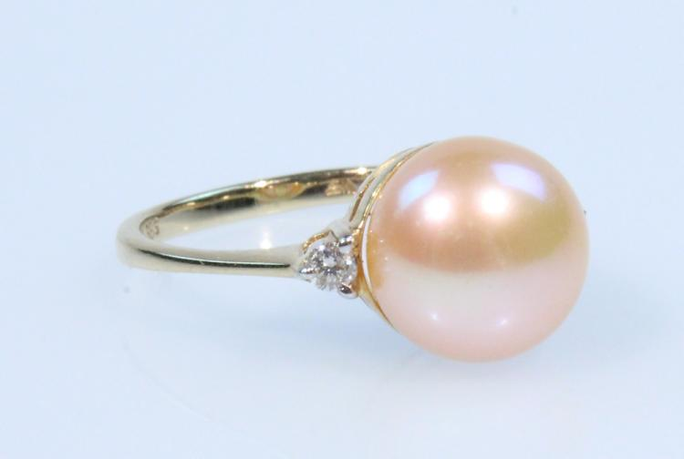 Precious Gemstones 14K YELLOW GOLD RING WITH CHINESE PINK CULTURED PEARL & DIAMONDS Vintage Jewelry Cocktail Evening Formal Attire