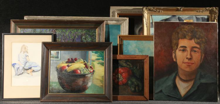 9Pcs Portraits Still Lives Landscapes LOU WEISS Vintage Original Signed Framed Paintings Oil Watercolor Art Students League NY Instructor Citroen