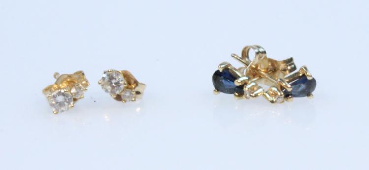 4Pcs Precious Stones 14 KARAT SAPPHIRE & DIAMOND STUDS Vintage Jewelry Earrings Pear Settings Jackets