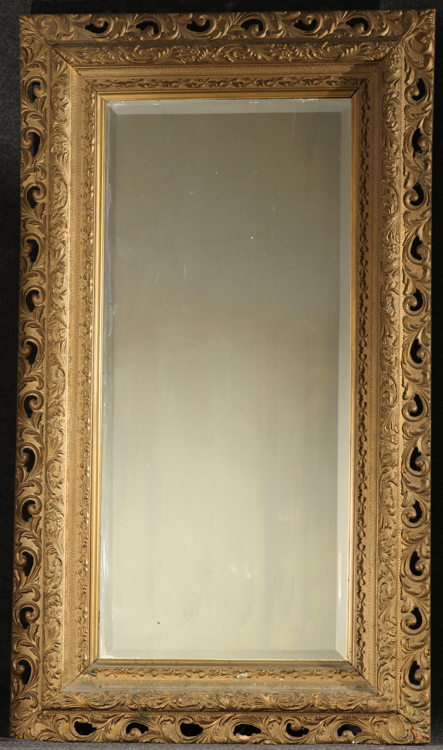 Ornate Foliate Gilt Carved LARGE ANTIQUE HANGING MIRROR 53