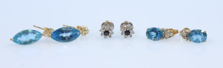 6Pcs Precious Stones 14 KARAT EARRINGS Vintage Jewelry Blue Topaz Diamond Sapphire Studs Dangle Threaded Posts Friction Backs Marquise Shaped Settings Jackets