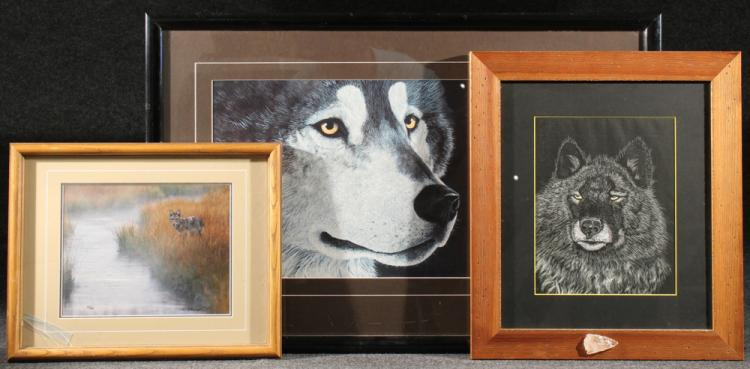 3Pcs Thomas Mangelsen FRAMED WILDLIFE ART Signed Color Photograph Misty Morning Creek Coyote Jon Van Zyle Wolf Poster Print Quartz Arrowhead