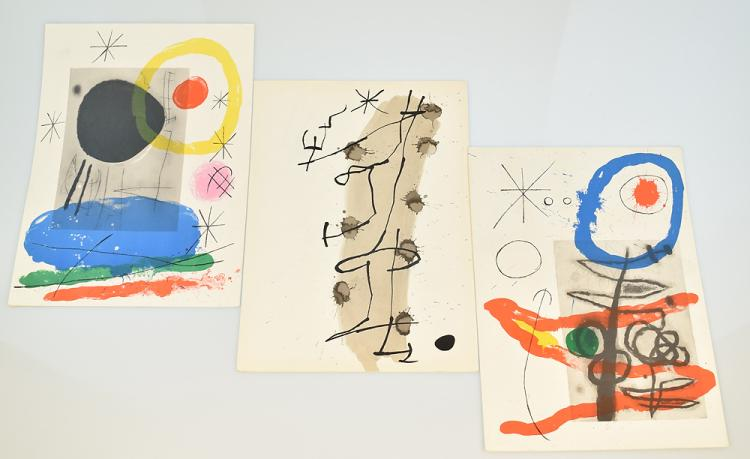 3Pcs Joan Miro VINTAGE COLOR STONE LITHOGRAPHS c1965 Surrealism Deluxe French Art History Periodical Derriere Le Miroir Assassination Of Painting