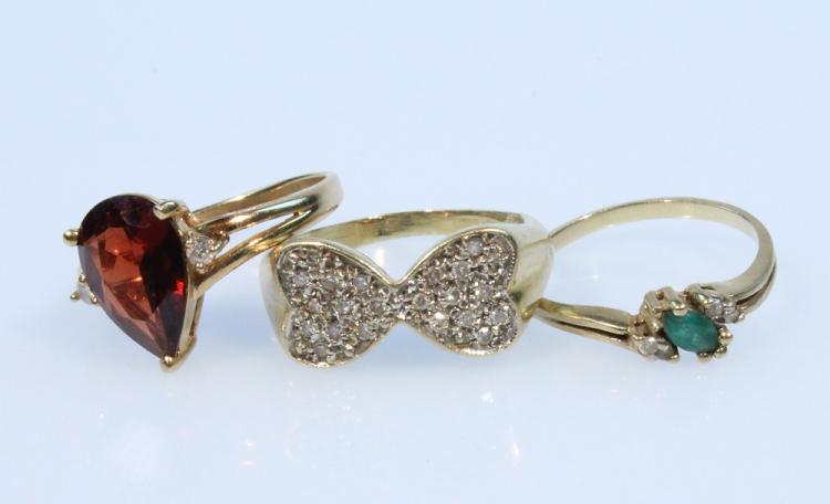 3Pcs Precious Gemstones DIAMOND GARNET EMERALD & YELLOW GOLD RINGS Vintage Jewelry Heart Pear Setting Rhodolite Karat