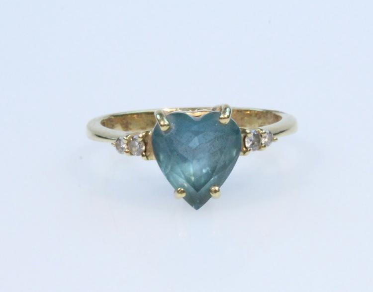 Precious Gemstones 18K YELLOW GOLD HEART-SHAPED BLUE TOPAZ & DIAMOND RING Vintage Jewelry Cocktail Evening Formal Attire