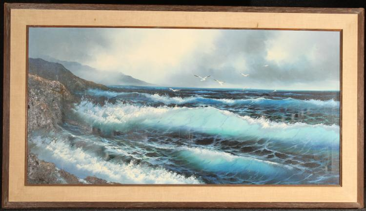 Original Oil On Canvas OCEANSCAPE A. KIRKHAM Painting Large Signed Blue Green Waves Rustic Wooden Frame