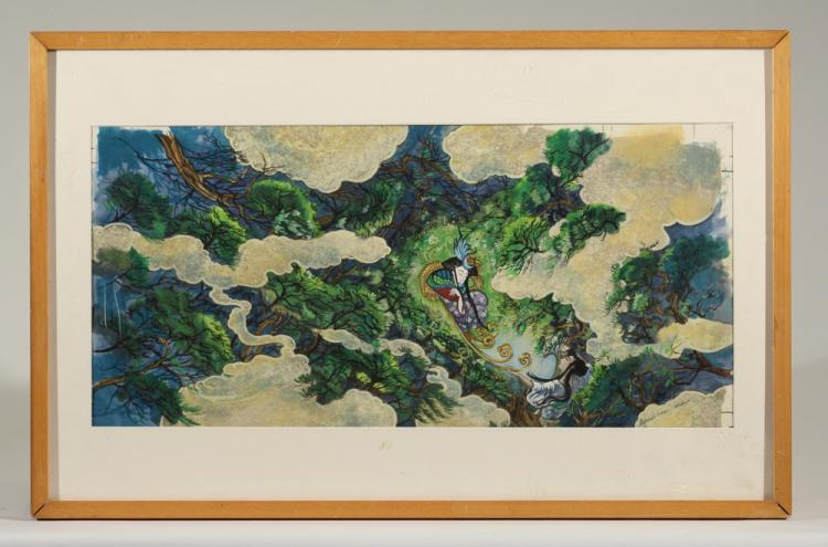 Deborah Nourse Lattimore GOUACHE FOREST & GEISHA PAINTING c1990 Artist Signed Japanese Asian Inspired Smoke Forest Framed Matted Glass