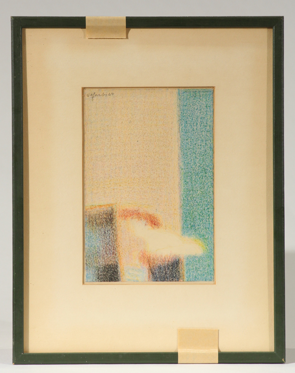 Signed Pastel Drawing Study HARRY SEFARBI Before The Mirror 1964 Abstract American Philadelphia Modernist Barnes Foundation Original Art