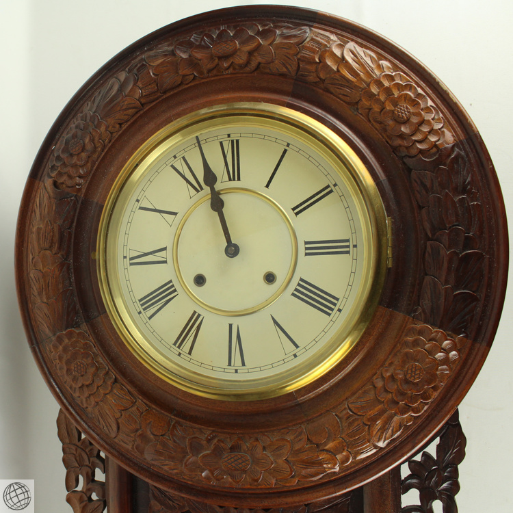 Decorative carved cabinet large wall clock brass accents lar