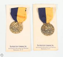 2Pcs Scarce Vintage UTICA CITIZEN CORP ANNIVERSARY MEDAL 1958 Vintage First Responders Crisis Response New York NY Metal Arts Company Rochester Badge Ribbon Patriotic Pride Tradition Legacy Memorial Commemorative United States US