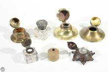 7Pcs Antique Vintage INKWELLS STONEWARE METAL AND GLASS c19th-20th Century Travel Home Office Desk Ink Bottle Correspondence Penmanship Letter Writing Calligraphy Decorative