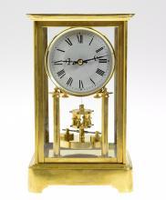 Antique Torsion Clock 400-DAY ANNIVERSARY CLOCK PH HAUCK CRYSTAL TORSION CLOCK 1902 Glass Case Restored Dial Decorative Collectible
