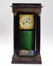 Early Year Clock ANTIQUE 400-DAY TORSION ANNIVERSARY CLOCK BY AARON D CRANE 1843 Single Ball Pendulum JR Mills & Co Patent Label Collectible
