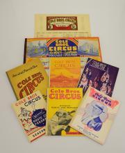 8pcs Vintage & Antique COLE BROS CIRCUS ROUTE BOOKS & ROUTE CARD 1936-1946 World War II Era Advertisements Buy War Bonds Clyde Beatty Ken Maynard