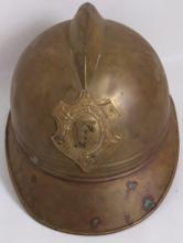 ANTIQUE GERMAN FIREMAN'S BRASS HELMET c1890 Crest Insignia Shield Firefighting History Leather Straps Original Lining