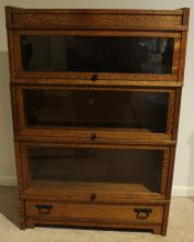 Gorgeous Solid Oak BARRISTER BOOK CASE Iron Hardware Glass Doors Three Tier Lower Drawer Base