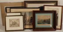 8Pcs Original Framed Antique Vintage WORKS ON PAPER Evett WPA 1700-1800 Architectural Engravings Vanity Fair Hunting Lithograph Dogs Art