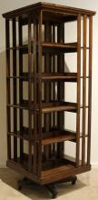 Early 20th Century Solid Oak REVOLVING BOOK CASE Antique Five Tier Square Iron Hardware