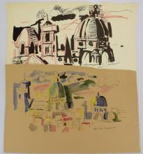 2pcs Abstract Expressionist Cityscapes EARLY SALVATORE GRIPPI URBAN LANDSCAPES 1954 Artist Signed Original New York School Artwork Ink & Watercolor