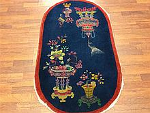 Antique Art Deco Chinese Oval Rug-