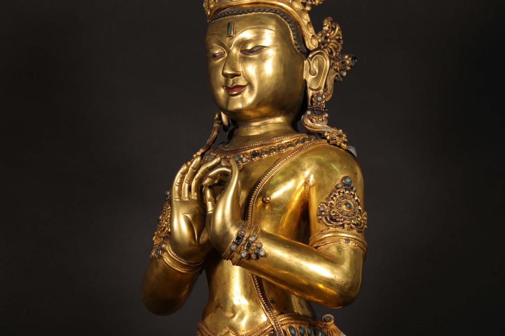 A MING DYNASTY BRONZE GILDED BUDDHA STATUE