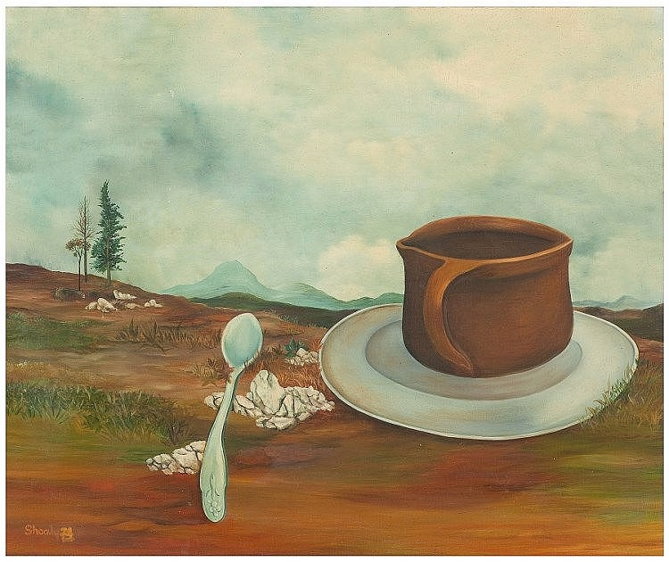Yoav Shualy (Israeli, b. 1940). Mug and teaspoon, 1974. Oil on canvas. 37 x 45 cm. Signed and dated