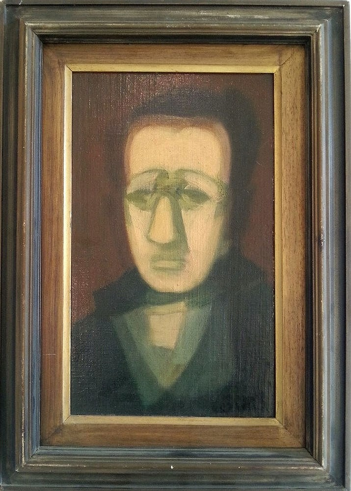 Avraham Goldberg (Israeli, 1906-1980). Man portrait. Oil on board. 37 x 22 cm. Signed.