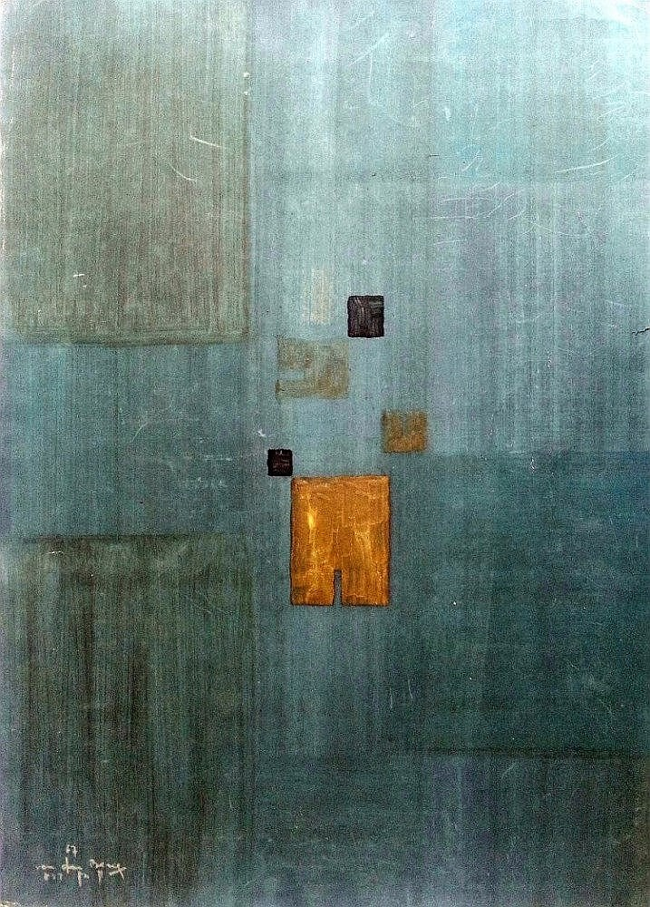 Shlomo Van den Berg (Israeli - German, 1920-1982). Compositin in Blue & grey. Acrylic on paper. 70 x 50 cm. Signed and dated