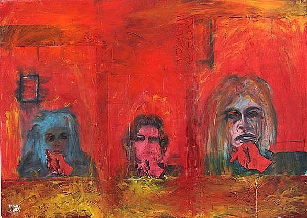 Gal Weinstein (Israeli, b. 1970). Three women, 1974. Mixed-media on paper. 49 x69  cm. Signed.