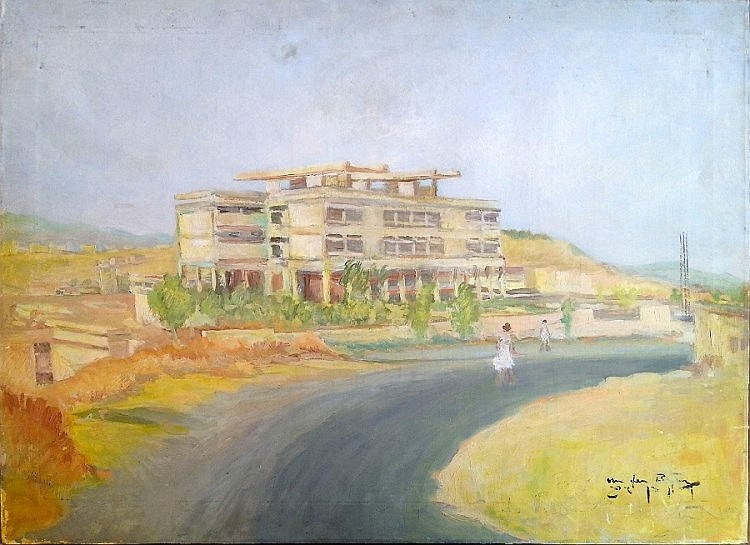Shlomo Van den Berg (Israeli - German, 1920-1982). Women in the landscape. Oil on canvas. 65 x86 cm. Signed.