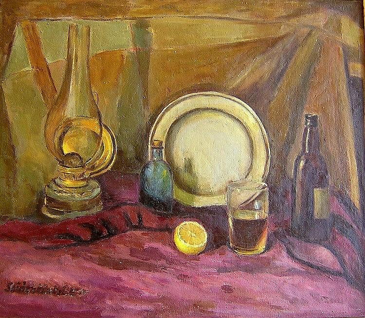 Efraim SEIDENBEUTEL (Polish, 1903-1945). Still Life with Oil Lamp, Bottles & Lemon. Oil on canvas. 56 x 65 cm. Signed.