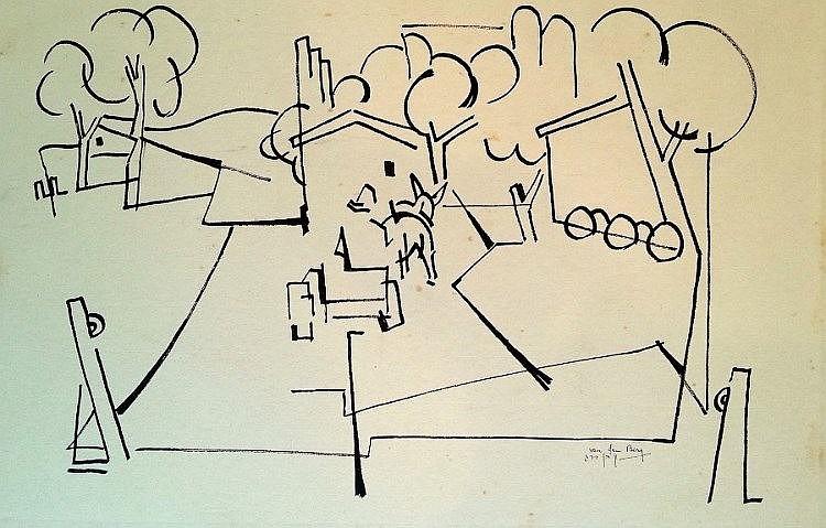 Shlomo Van den Berg (Israeli - German, 1920-1982). Kibbutz dining hall. Ink on paper (mounted on paper). 50 x70 cm. Signed.