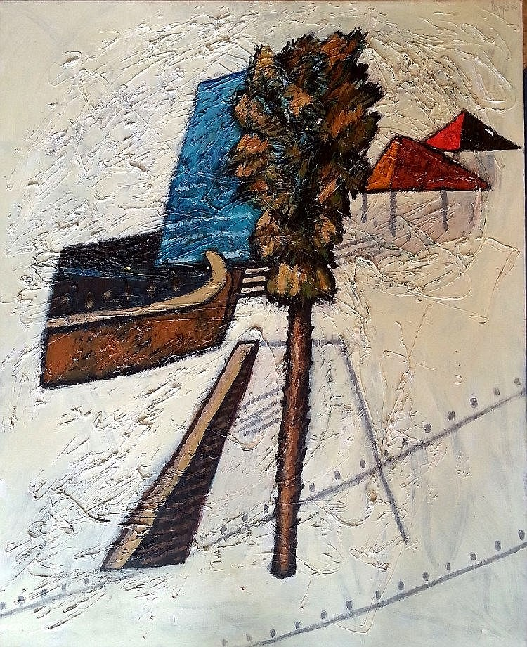 Dan Kedar (Israeli, 1929-2008). Top roofs and Tree in Tel Aviv, 1995. Oil on canvas. 100 x 81 cm. Signed and dated