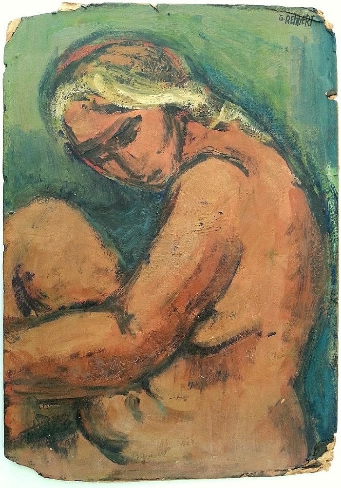 Gershon Rennert (Israeli - German, 1929-2010). Nude woman. Oil on paper mounted on cardboard. 50 x 36 cm. Signed.
