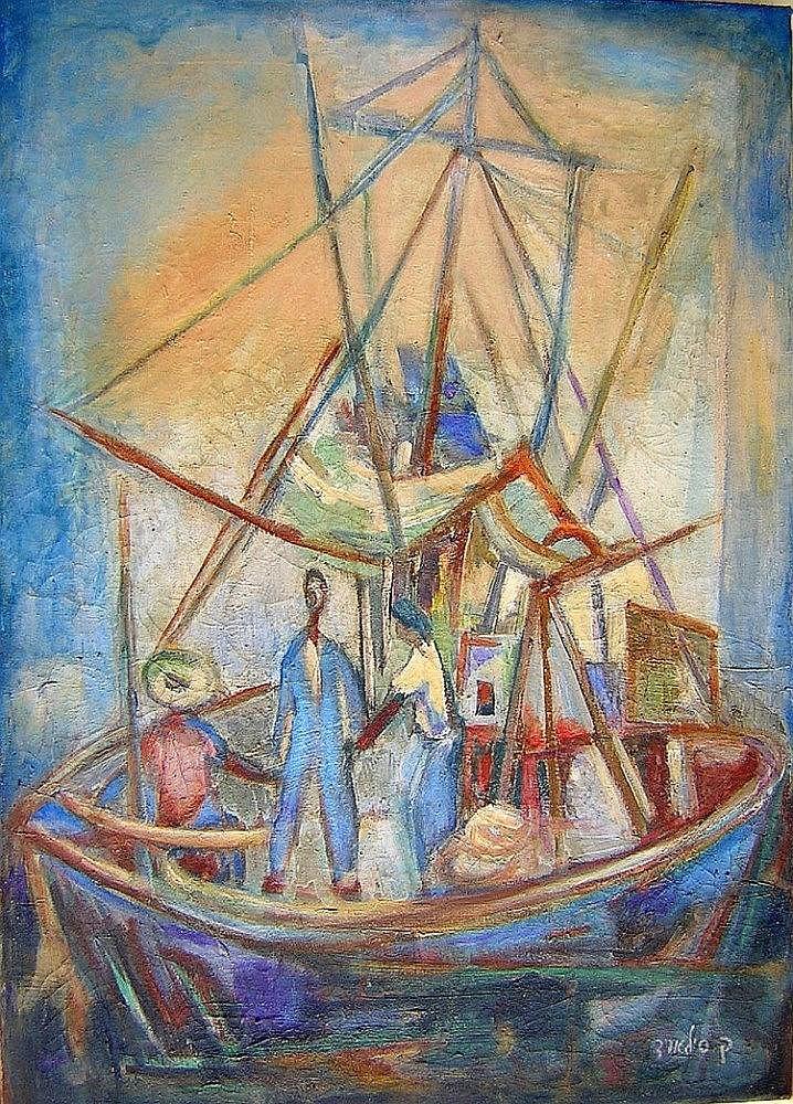 Claire (Klara) Szilard (Hungarian - Israeli, b.1921). Figures on a boat. Oil on canvas. 70 x50 cm. Signed.