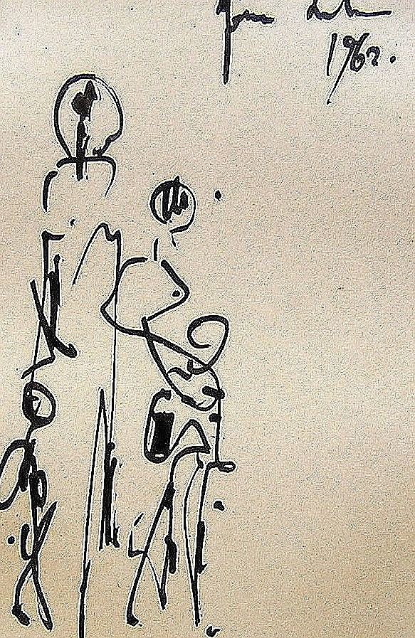 Yona Lotan (Israeli - French, 1926-1998). Family in Paris, 1962. Ink. 13 x9 cm. Signed and dated