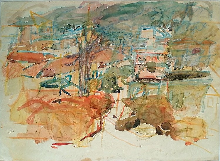Eliahu Gat (Israeli, 1919-1987). Landscape in orange. Watercolor. 50 x 70 cm. Signed.