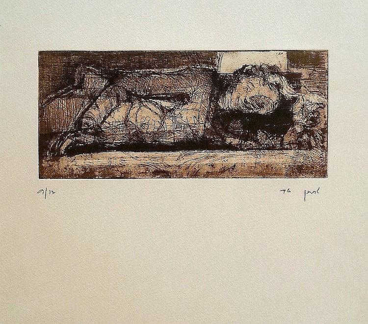 Zvi Lachman ( Israeli, b. 1950). Reclining woman. Etching. 37 x35 cm. Signed, dated