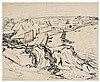 Julius Wolfgang Schulein (German - American, 1881-1970). Bay landscape. Ink. 51 x 41 cm. Signed., Julius Wolfgang Schülein, Click for value