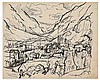 Julius Wolfgang Schulein (German - American, 1881-1970). Valley landscape. Ink. 45 x 37 cm. Signed., Julius Wolfgang Schülein, Click for value