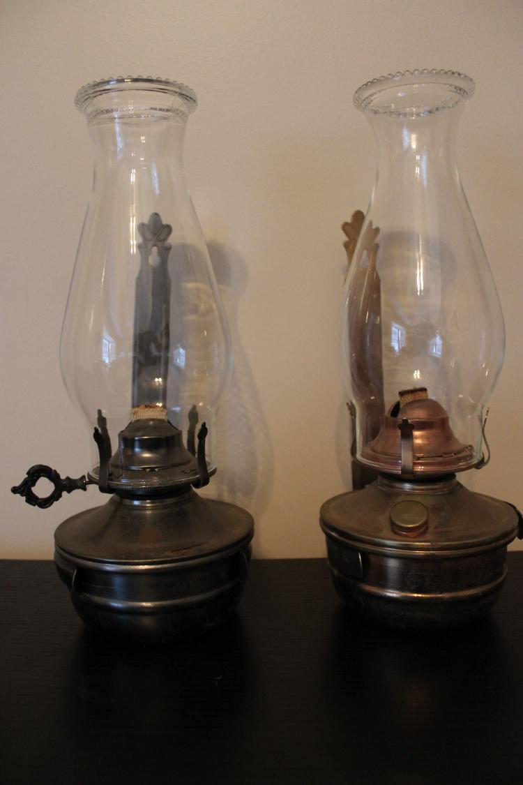 Wall Oil Lamps : Vintage Lamplight Farms Brass Wall Mounted Oil Lamps