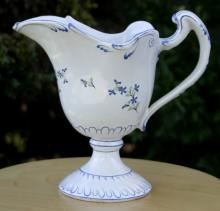 late 1700's antique German pottery pitcher hand painted