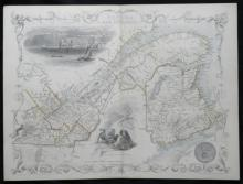 1851 Rapkin/Tallis illustrated map of Canada (New Brunswick)
