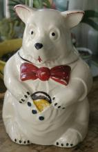 marked McCoy white pottery bear cookie jar