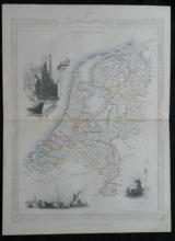 1851 Rapkin/Tallis illustrated map of Holland (The Netherlands)